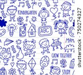 seamless pattern kids drawing... | Shutterstock .eps vector #750274327