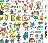 kids drawing kindergarten... | Shutterstock .eps vector #750274393