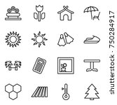 thin line icon set   flower bed ... | Shutterstock .eps vector #750284917