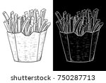 french fries in a paper cup.... | Shutterstock .eps vector #750287713