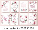 Stock vector set of card with flower rose leaves wedding ornament concept floral magazine poster invite 750291757