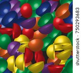 rainbow hemispheres seamless... | Shutterstock .eps vector #750293683