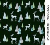 watercolor christmas seamless... | Shutterstock . vector #750305227