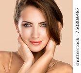 woman beauty face portrait...   Shutterstock . vector #750306487