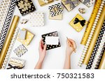 woman writing greeting card for ... | Shutterstock . vector #750321583