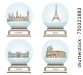 vector snow globes with london  ... | Shutterstock .eps vector #750321883