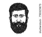 bearded man head isolated on...   Shutterstock .eps vector #750325873