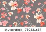 oriental cherry pattern | Shutterstock . vector #750331687