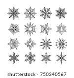 snowflake winter isolated. set... | Shutterstock .eps vector #750340567