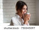 close up portrait of a... | Shutterstock . vector #750345097
