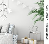 mock up the christmas interior... | Shutterstock . vector #750347293