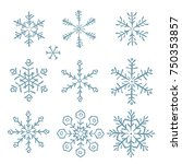 snowflakes doodle icons set | Shutterstock .eps vector #750353857