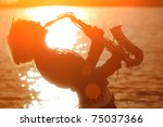 Woman Playing Saxophone Sax At...