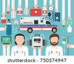 medical paramedic with... | Shutterstock .eps vector #750374947
