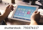 smart house device smartphone...   Shutterstock . vector #750376117