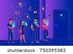 waiting in line near a door... | Shutterstock .eps vector #750395383