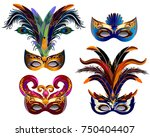 Carnival Masks Icons Set With...