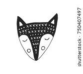 hand drawn fox. nursery poster... | Shutterstock .eps vector #750407497