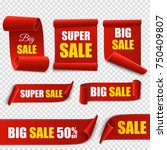 set of red sale banners... | Shutterstock .eps vector #750409807
