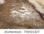 bad road  wet from rain snow... | Shutterstock . vector #750421327