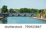 ancient bridge of tiberius in... | Shutterstock . vector #750421867
