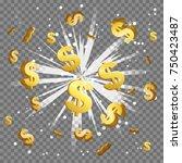 golden dollar sign light beam... | Shutterstock .eps vector #750423487