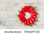 red jalapeno peppers round in... | Shutterstock . vector #750429733