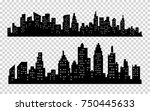 black city silhouette icons... | Shutterstock . vector #750445633
