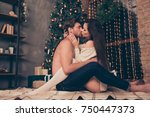 Stock photo side profile view of brunet partner with bristle hold cuddle sensual sexual his brunette lady cute 750447373
