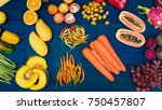 flat lay of fresh  fruits and...   Shutterstock . vector #750457807