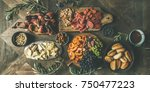 flat lay of holiday  party ... | Shutterstock . vector #750477223