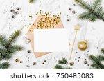blank card with golden... | Shutterstock . vector #750485083