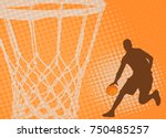 basketball player on the... | Shutterstock .eps vector #750485257