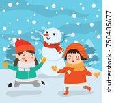 kids play in winter. children... | Shutterstock .eps vector #750485677