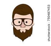 hipster face cartoon icon... | Shutterstock .eps vector #750487453