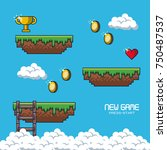 pixelated game scenery icons...