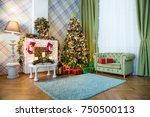 new year green tree decorated... | Shutterstock . vector #750500113