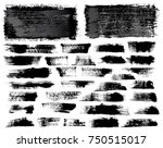 set of black ink vector stains | Shutterstock .eps vector #750515017