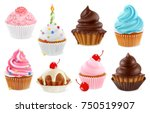 cupcake  fairy cake. 3d... | Shutterstock .eps vector #750519907