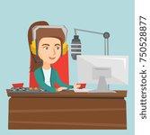 young caucasian radio host... | Shutterstock .eps vector #750528877