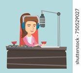 young caucasian radio host... | Shutterstock .eps vector #750529027