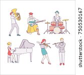 musical instrument players... | Shutterstock .eps vector #750530167