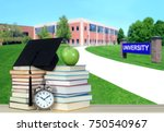 path to campus of higher... | Shutterstock . vector #750540967
