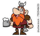 cartoon viking a holding a... | Shutterstock .eps vector #750548653