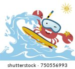 funny surfer cartoon vector | Shutterstock .eps vector #750556993
