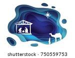 birth of christ. baby jesus in... | Shutterstock .eps vector #750559753