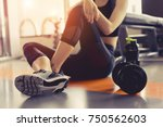 woman exercise workout in gym... | Shutterstock . vector #750562603