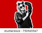 fashion collage in magazine... | Shutterstock . vector #750565567