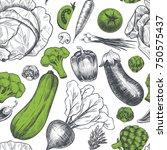 fresh vegetables . vector... | Shutterstock .eps vector #750575437