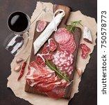 salami  sliced ham  sausage ... | Shutterstock . vector #750578773